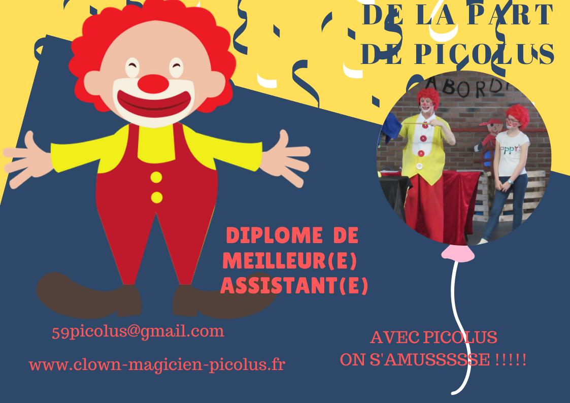 clown magicien DIPLOME DE MEILLEUR(E) ASSISTANT(E)